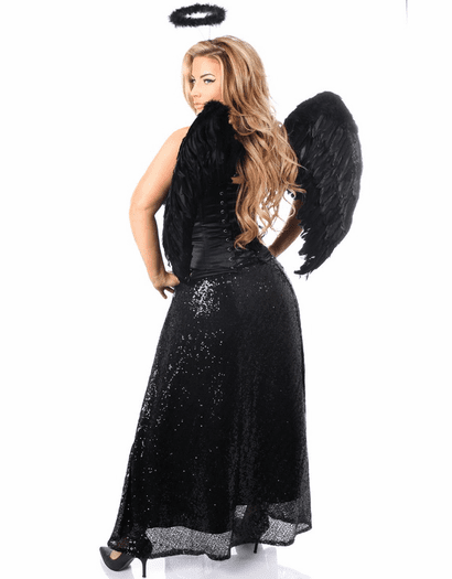Black Sequin Dark Angel Corset Costume