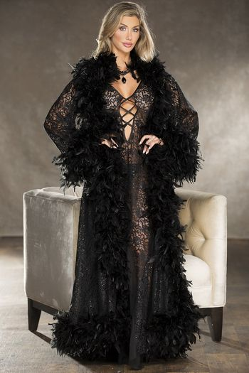 Black Sequined Lace Long Robe