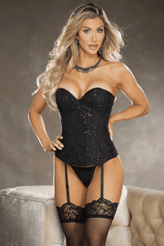 Black Sequined Lace Up Corset