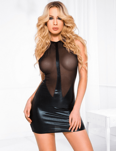 Black Sheer Front Flirt Wet Look Chemise