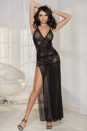 Black Sheer Halter Gown