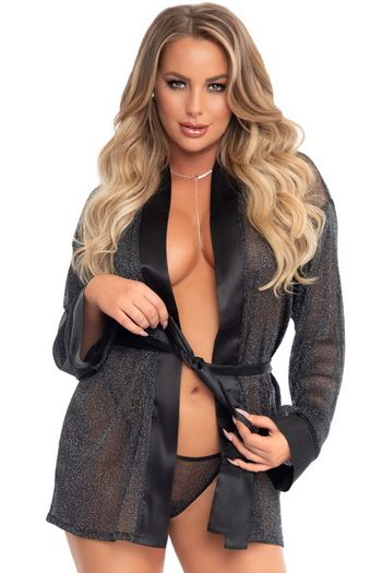 Black Sheer Lurex Robe