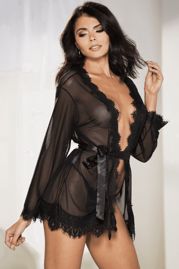 Black Sheer Robe Set