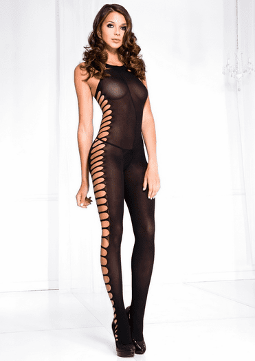 Black Side Cut Out Babe Bodystocking