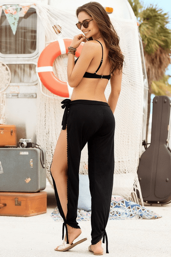 Black Side Tie Beach Pants