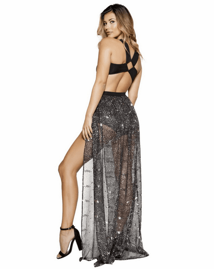 Black & Silver Romper Skirt Set