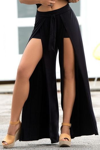 Black Skirted Shorts