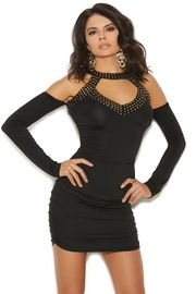 Black Slip On Mini Dress