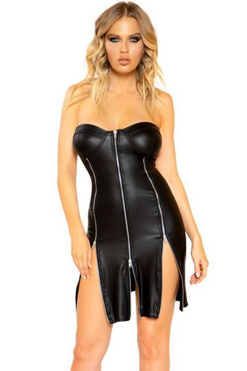 Black Strapless Faux Leather Dress