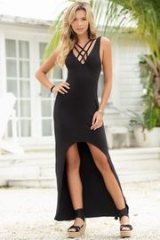 Black Strappy High-Low Dress
