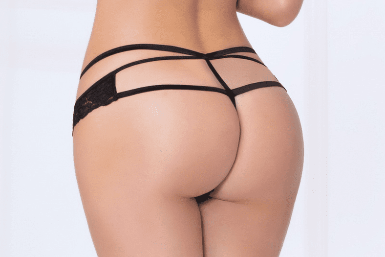 Black Strappy Lace Thong