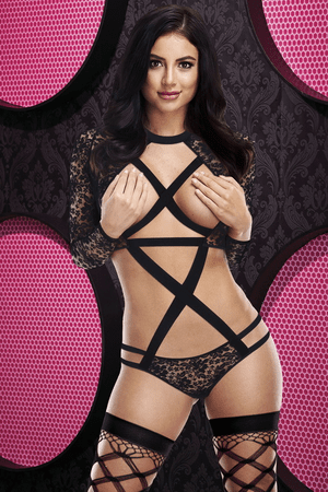 Black Strappy Long Sleeve Cupless Teddy