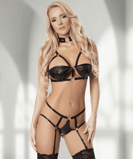Black Strappy Seduction Bra & Garter Panty Set