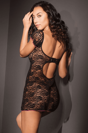 Black Stretch Lace Chemise
