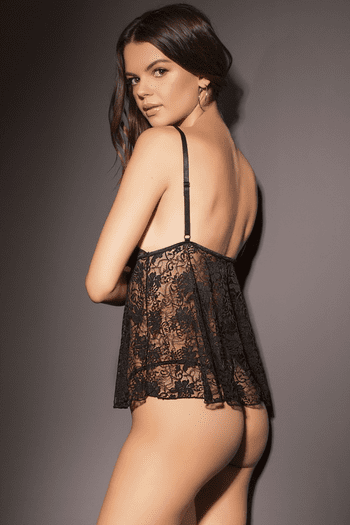 Black Stretch Lace & Knit Babydoll