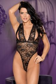 Black Stretch Lace Peek-A-Boo Teddy