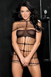 Black Stretch Nylon Cage Teddy