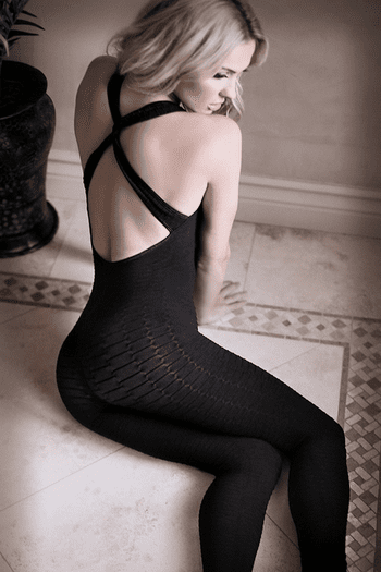 Black to Reality Opaque Textured Bodystocking