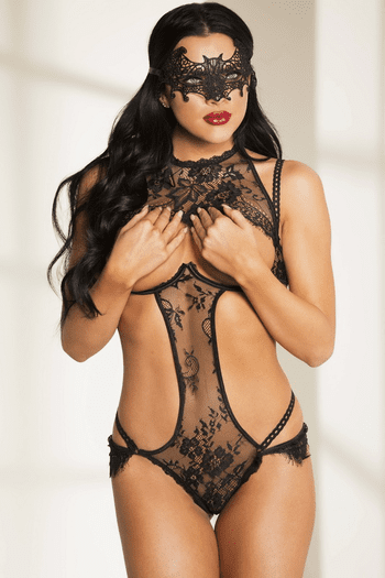 You Are Mine Black Lace Open Bust Teddy
