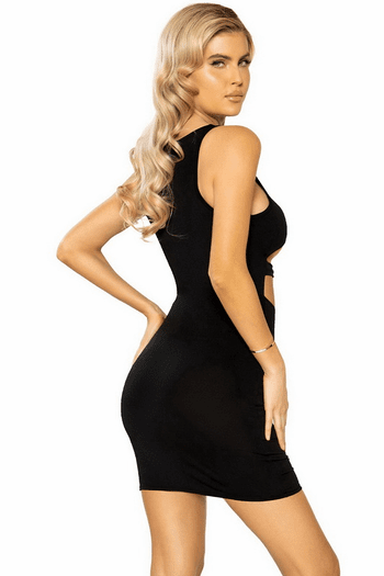 Black Underboob Cutout Mini Bodycon Dress