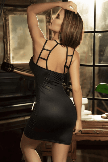 Black Wet Look Bodycon Dress
