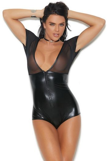 Black Wet Look & Mesh Romper