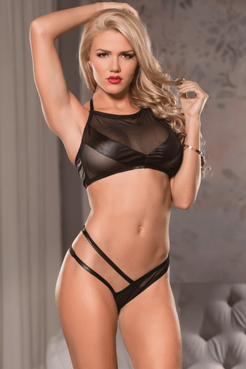 Black Wetlook Halter Bra Set