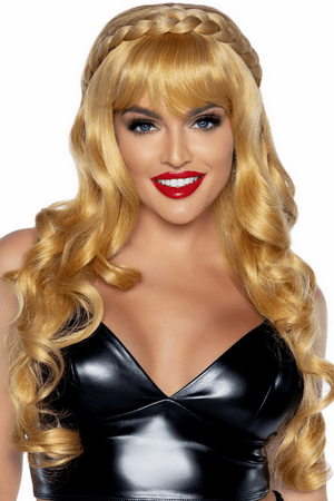 Blonde Long Curly Wig With Braid