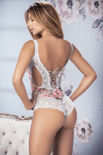 Blossom Print Lace Teddy