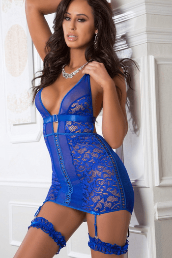 Blue Angel Lace Up Garter Chemise