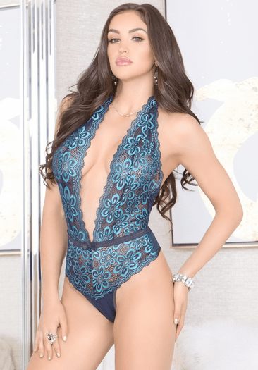 Blue Bombshell Lace Teddy