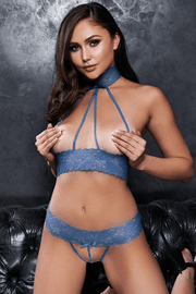 Blue Cupless Strappy Bra Set