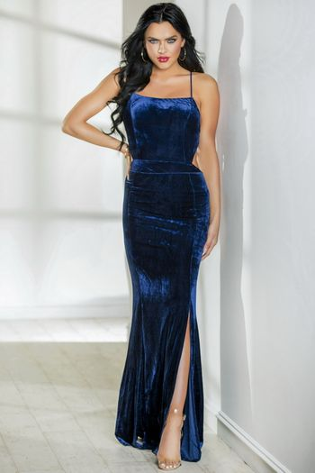 Blue Halter Velvet Long Dress