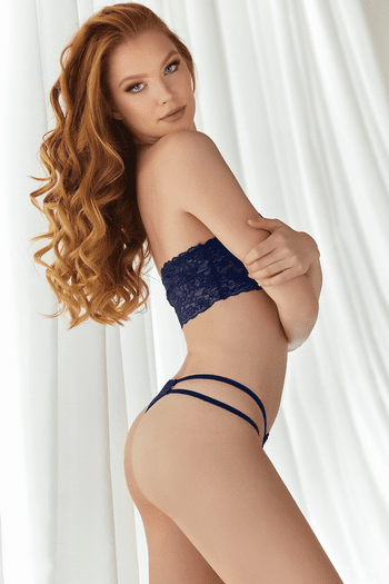 Blue Lace Bandeau & Strappy Thong Set