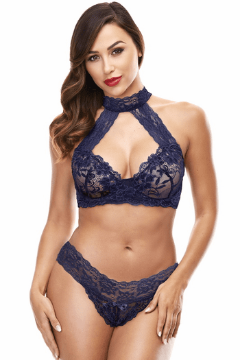 Blue Lace Halter Bra & Panty Set