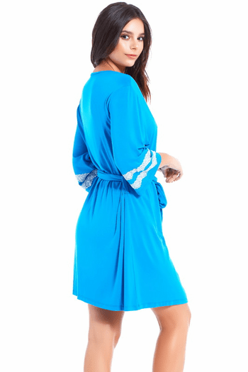 Blue Lace Trim Robe