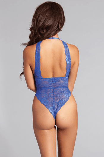 Blue Lace Up Halter Teddy