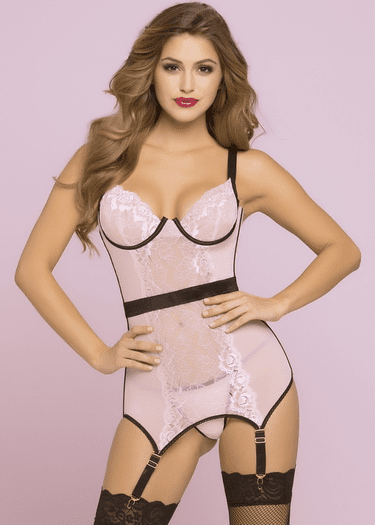 Blush Bond Garter Bustier & Thong Set