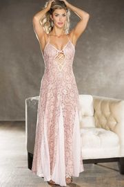 Blush Sequined Lace Gown