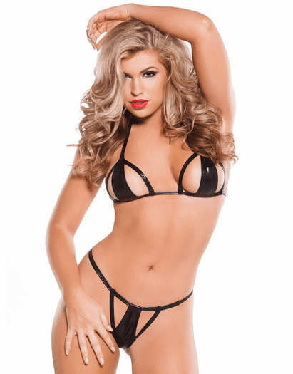 Born This Way Wet Look Bra & G-string Set