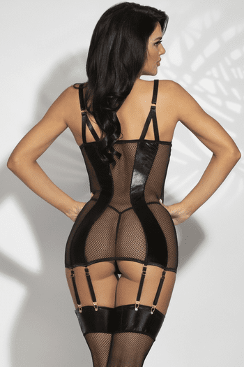 Bound To You Lame & Fishnet Chemise