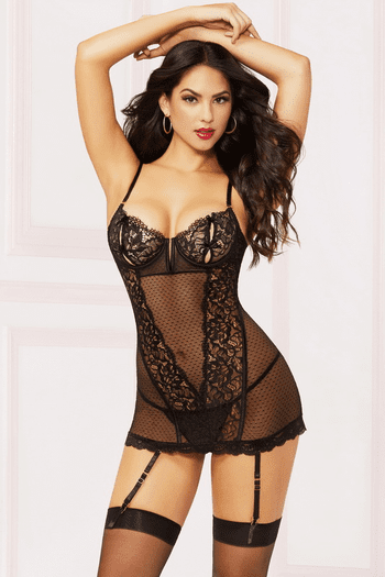 Bow And Beautiful Chemise & Thong Set