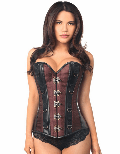 Brown Brocade Faux Leather Lace Up Corset