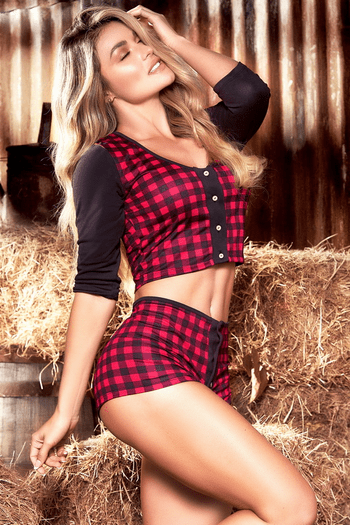 Buffalo Plaid High Waist Pajama Set