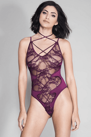 Burgundy Criss Cross Strappy Lace Teddy