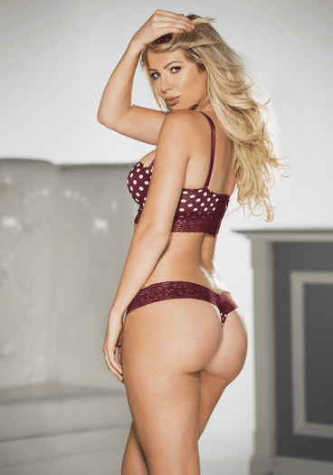 Burgundy Doll Polka Dot Push Up Bra