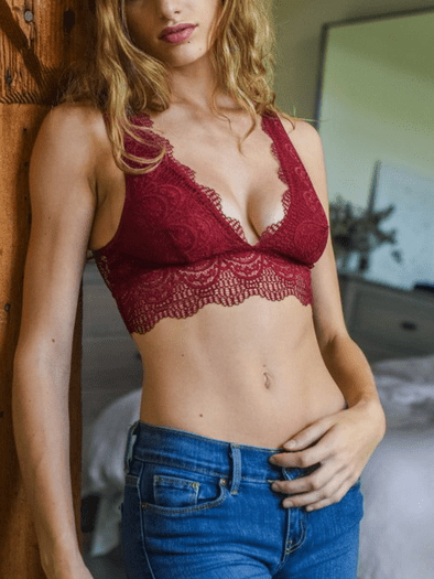 Burgundy Eyelash Lace Bralette