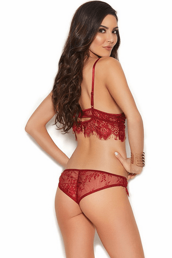 Burgundy Eyelash Lace Cami Set