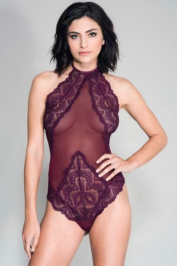 Burgundy High Neck Scalloped Trim Lace Teddy