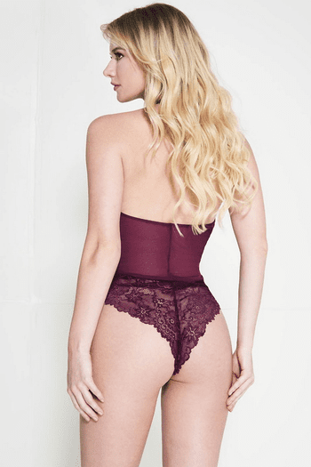 Burgundy Lace Scalloped Trim Thong Back Teddy